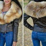 Куртка косуха из натуральной кожи и натуральным мехом лисы