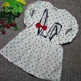 Платье с Длинным Рукавом для Девочки Зайка Белое Рост 104-122 см
