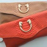 Маленький кожаный клатч темно оранжевый в стиле Gucci