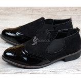 Ботинки челси женские на резинках черные La Bottine лаковый носочек