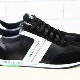 Мужские кожаные черные кроссовки с замшей и белыми вставками
