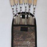 Набор шампуров с деревянной ручкой 6шт мангал чехол