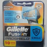 Супер новинка от Gillette сменные картриджи Fusion Proshield Chill оригинал упаковка 11 штук.