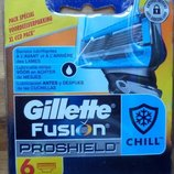 Супер новинка от Gillette сменные картриджи Fusion Proshield Chill оригинал упаковка 6 штук.