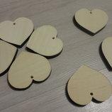 Сердце из дерева с отверстием. Деревянная заготовка. Валентинка. Подвеска