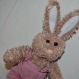 Очень красивый нежный зайка зайчик для деток плюшевый под винтаж