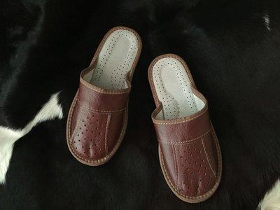Тапочки мужские, кожаные, закрытый носок