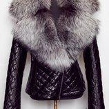 Куртка косуха стеганная из натуральной кожи и натуральным воротником