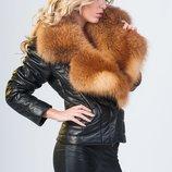 Куртка косуха стеганная из натуральной кожи и воротником из натурального меха