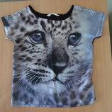 футболка 10-12 л майка чернфя детская H&M НМ серебро леопард 3 D