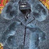 пальто драповое натуральное мех песец тоже новое теплющее 50 52