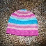 Шапка на девочку 46-50 см ангора шерсть яркая розовая зимняя.