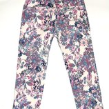 Белые, разноцветные брюки в цветочек, джинсы, 3-4 года,104