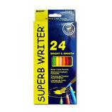 Карандаши акварельные SuperbWriter Marco, 24 цвета олівці кольорові Марко канцтовары канцтовари канц