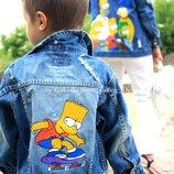 by koko4ka куртка джинсовка 1-2г джинсовая куртка принт Симпсоны