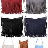 Женская натуральная замшевая сумка с бахромой