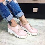 Женские туфли броги натуральная кожа