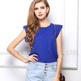 Красивая женская блуза шифоновая стильная синяя