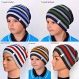 Детская зимняя шапка для мальчика Гарвард на флисе от 4 лет 52 54 56