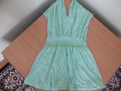 платье 10 рр женское девушке женское зеленое белое полоска