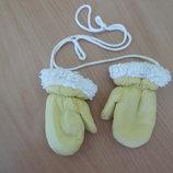 перчатки1-3 л варежки краги желтые зима детские мех