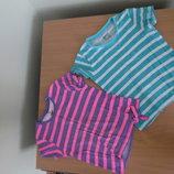 футболка майка 6-8 и 8-10 л голубая розовая полоска Pepperts 2 шт