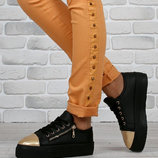 Ботинки слипоны Венгрия Zanotti золотой носок молния на шнуровке высокая платформа
