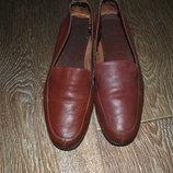 Лоферы слипоны туфли кожаные коричневые натуральные 37 24 см