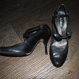 Туфли кожаные натуральные черные красивые 37 24 см