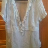 комплект блуза натур шелк майка р 48 Monsoon бирюза
