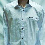 Рубашка мужская Noseda белая с cиней отделкой S,L-50,