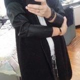 Стильный кардиган крупной вязки с кожаными рукавами Мango оверсайз М