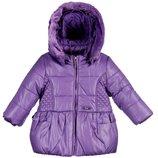 12м Пальто куртка Mayoral теплое р80 съемный капюшон мех фиолет оригинал