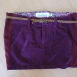 Юбка 128 см Спыдниця Вельвет вишня школьная форма юбка H&M НМ