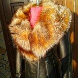 Куртка косуха из натуральной кожи и натуральным мехом крашеной чернобурки