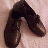 Мужские кожаные коричневые классические туфли на шнурках - 8 размер, 27 см стелька