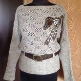 Нарядный свитер кофта туника с шикарной аппликацией