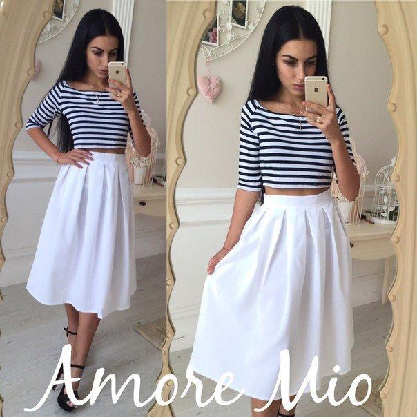 Белая юбка габардин