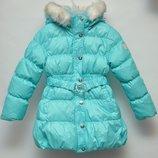 Зимнее пальто пуховик SELA для девочки. Утеплитель пух, 70 %. Возраст 5 лет. . Качество.