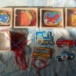 набор деревянных шнуровок цветных в деревянной коробочке
