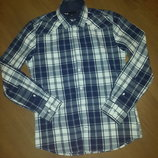 красивенная рубашка темно синяя с белым