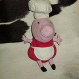 большая мягкая игрушка свинка Пеппа повар рeppa Pig Abd Англия оригинал 37 см