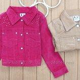 Вельветовые фирменные жакеты пиджаки бежевые, малинов для девочек