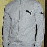 Спортивная кофта Puma светло-серая без капюшона на молнии.