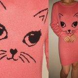 Платье-Туника теплое розовое с кошкой 12 40 р.