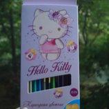 Карандаши цветные 12/24 Kite Hello Kitty Хелоу Китти двухсторонние Олівці кольорові Кайт