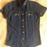 Рубашка мужская, летняя с коротким рукавом. Размер S. Цвет -синий.