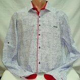 Рубашка мужская Paul Jack белая в чёрточки M,L,XL,3XL