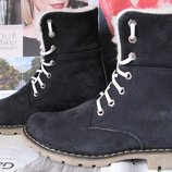 Супер зимние стильные женские сапоги ботинки Timberland теплые натуральный нубук