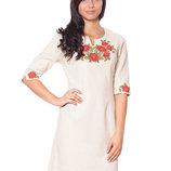 Обалденное вышитое льняное платье от М до 2хл